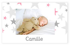 Faire-part de naissance Little Star rose