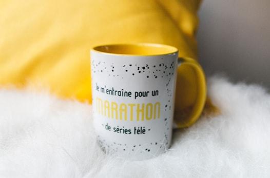 mug jaune marathon