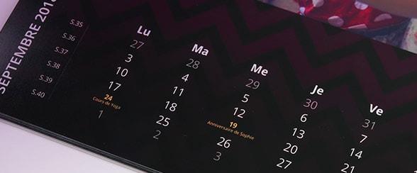 calendrier photo 2018