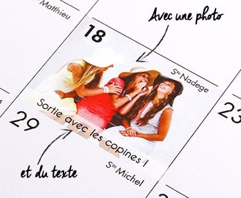 annotation calendrier photo